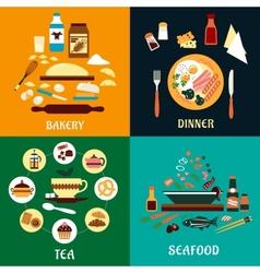 Set of flat food infographics vector image