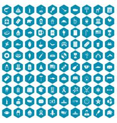 100 usa icons sapphirine violet vector image