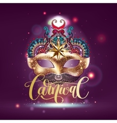 3d gold venetian carnival mask with ornamental vector image