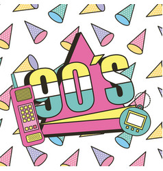 90s mobile and toy electronic retro memphis vector