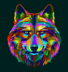 abstract colorful neon portrait a wolfs head vector image