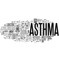 Asthmatic bronchitis text word cloud concept vector