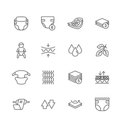 baby diaper icon white clean softly pee infant vector image