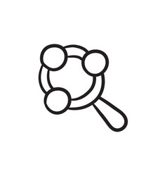 Baby rattle sketch icon vector