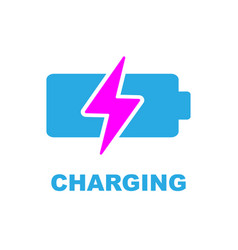 Battery charging icon color sign on white vector