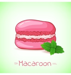 Beautiful of a French dessert macaroon and mint vector