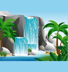 Beautiful waterfall vector