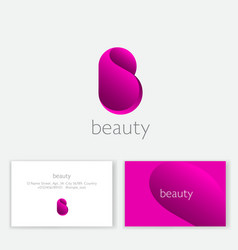 beauty logo pink monogram petal business card vector image