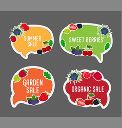 Berries sale in bubble speech vector