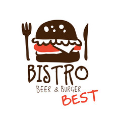 Bistro beer and burger logo template hand drawn vector