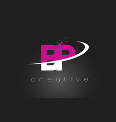 bp b p creative letters design with white pink vector image