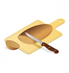 bread board with knife vector image