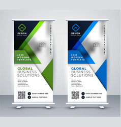 Business rollup vertical standee geometric banner vector