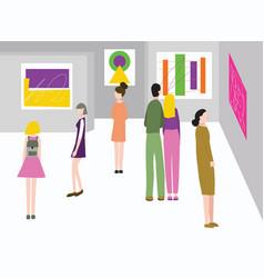 cartoon color exhibition inside interior and vector image