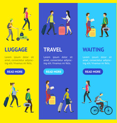 cartoon people traveling banner vecrtical set vector image
