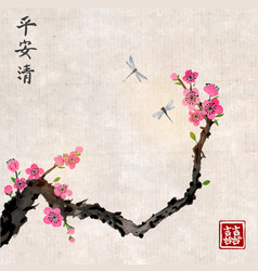 cherry sakura tree branch in blossom and two vector image