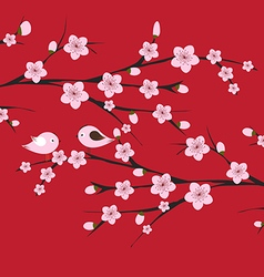 Chinese Lunar New Year with blossom and bird vector