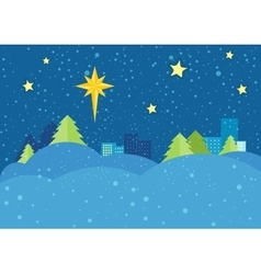 Christmas Night Concept in Flat Design vector