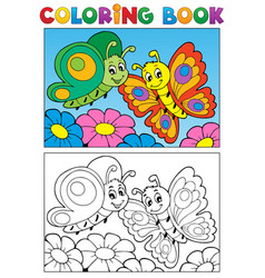 Coloring book butterfly theme 1 vector