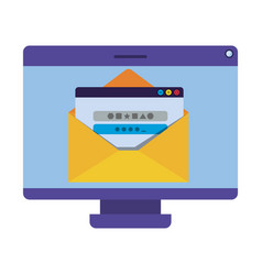 computer screen with open window and password icon vector image