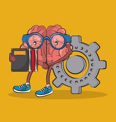 Cute and funny brain cartoon vector