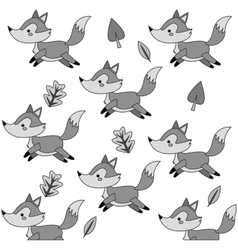Cute fox cartoon pattern background vector