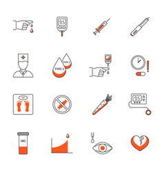 diabetes treatment signs thin line icons set vector image