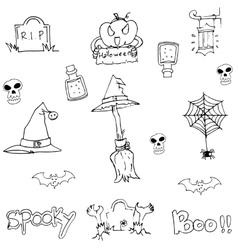 Doodle flat Halloween object vector