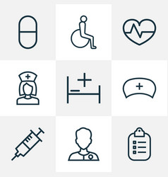 Drug icons line style set with bed nurse cap vector