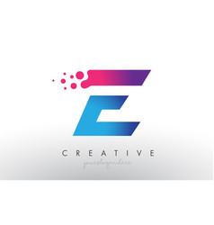 E letter design with creative dots bubble circles vector