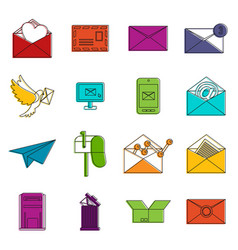 email icons doodle set vector image