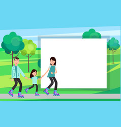 family roller skating together in park vector image