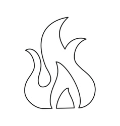 Fire flame burn hot design line vector