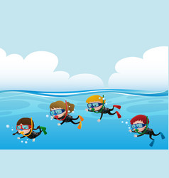 Four kids scuba diving under the ocean vector