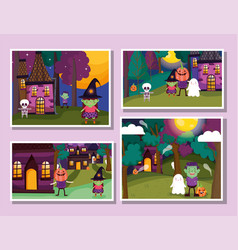 frame photos celebration trick or treat - happy vector image
