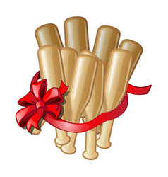 gift in the form of bundles of baseball bats with vector image