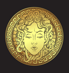 Golden medusa gorgon golden head on a shield vector