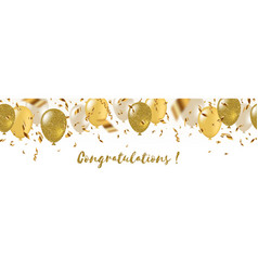 greeting banner with balloons and confetti vector image
