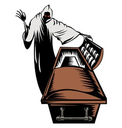 Grim Reaper Death Coffin Retro vector