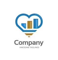 grow business chart and love logo vector image
