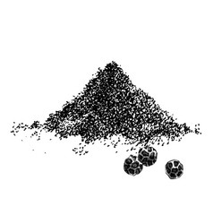 Hand drawn heap ground pepper and three vector
