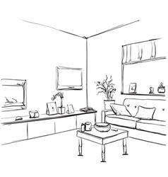 hand drawn room interior sketch chair and window vector image