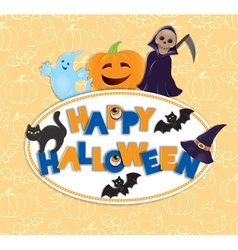 Happy Halloween round board vector image