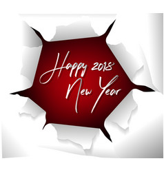 happy new year 2018 with paper ripped hole and vector image