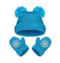 Hat and Mitten Set Winter Accessories vector image
