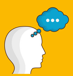 Head with speech bubble icon vector