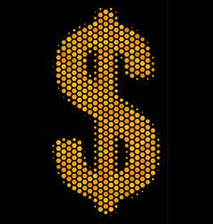 Hexagon halftone dollar icon vector