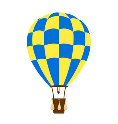 hot air balloon in blue and yellow design vector image