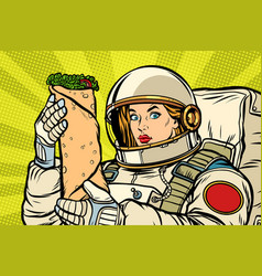 Hungry woman astronaut with shawarma kebab vector