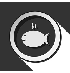 icon - grilling fish with smoke and shadow vector image